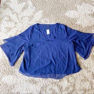 Lane Bryant Blue Flowy Chiffon Blouse Dressy